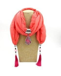 Ethnic Fashion Water-drop Gem Pendant Scarf Necklace - Khaki