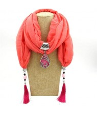 Ethnic Fashion Water-drop Gem Pendant Scarf Necklace - Pink