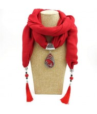 Ethnic Fashion Water-drop Gem Pendant Scarf Necklace - Red