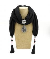 Ethnic Fashion Water-drop Gem Pendant Scarf Necklace - Black