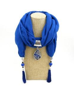 Ethnic Fashion Water-drop Gem Pendant Scarf Necklace - Purple
