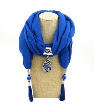 Ethnic Fashion Water-drop Gem Pendant Scarf Necklace - Royal Blue