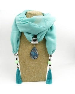 Ethnic Fashion Water-drop Gem Pendant Scarf Necklace - Blue