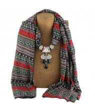 Ethnic Fashion Water-drop Gem Pendant Scarf Necklace - White