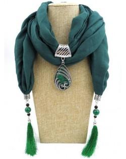 Ethnic Fashion Water-drop Gem Pendant Scarf Necklace - Ink Blue