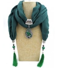 Ethnic Fashion Water-drop Gem Pendant Scarf Necklace - Ink Green
