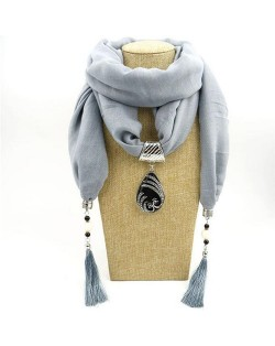 Ethnic Fashion Water-drop Gem Pendant Scarf Necklace - Gray