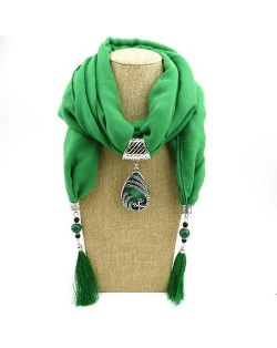 Ethnic Fashion Water-drop Gem Pendant Scarf Necklace - Green