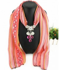 Butterfly Gem Pendant Scarf Necklace - Pink