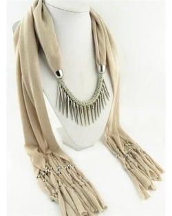 Punk Fashion Long Rivets Tassels Scarf Necklace - Beige