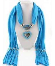 All-match Style Love Pendant Scarf Necklace - Sky Blue