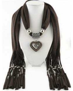All-match Style Love Pendant Scarf Necklace - Coffee