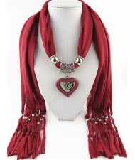 All-match Style Love Pendant Scarf Necklace - Dark Red