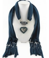 All-match Style Love Pendant Scarf Necklace - Ink Blue