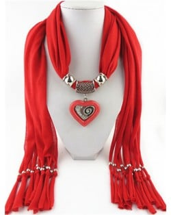 All-match Style Love Pendant Scarf Necklace - Red