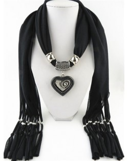 All-match Style Love Pendant Scarf Necklace - Black