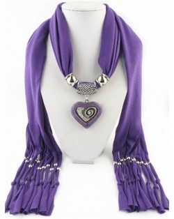 All-match Style Love Pendant Scarf Necklace - Purple