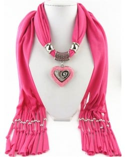 All-match Style Love Pendant Scarf Necklace - Pink