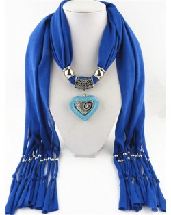 All-match Style Love Pendant Scarf Necklace - Royal Blue