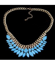 Blue Gems Inlaid Leaves Style Short Fashion Necklace