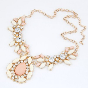 Rhinestones Inlaid Pinky Gems Dripping Shape Fashion Necklace
