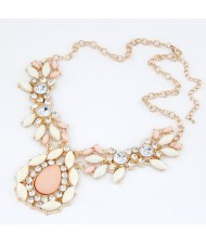Rhinestones Inlaid Pinky Gems Dripping Shape Fashion Necklace