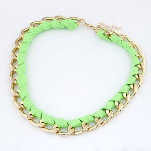 Fluorescent Green Rope Weaving Style Golden Alloy Necklace