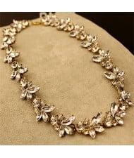 Vintage Luxury Bright Rhinestones Flowers Short Necklace