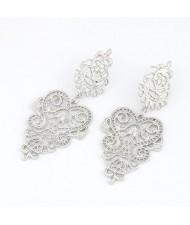 Silver Hollow-out Flower Folk Fashion Earrings