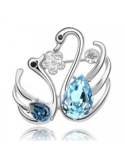Swan Lake Love Austrian Crystal Brooch - Aquamarine
