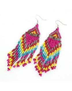 Bohemian Beads Tassels Style Dangling Earrings - Rose