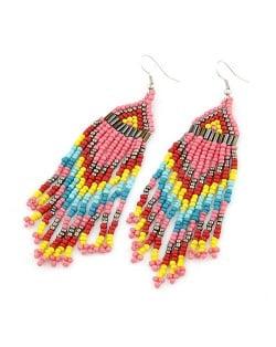 Bohemian Beads Tassels Style Dangling Earrings - Pink
