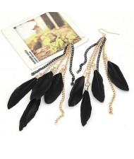 Black Feather Style Earrings
