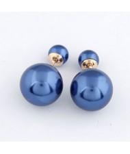 Twin Balls Design Pearl Ear Studs - Blue