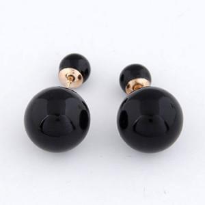 Twin Balls Design Pearl Ear Studs - Black