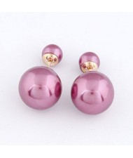 Twin Balls Design Pearl Ear Studs - Purple