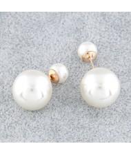 Twin Balls Design Pearl Ear Studs - White