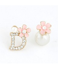 Sweet Flower Attached D Character and Pearl Asymmetric Ear Studs - Pink