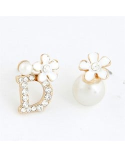 Sweet Flower Attached D Character and Pearl Asymmetric Ear Studs - White