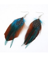Extreme Feather Fashion Dual Color Earrings