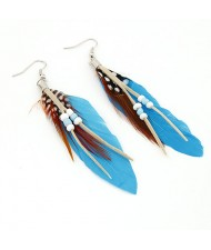 Extreme Graceful Feather Fashion Earrings - Blue