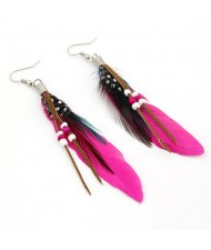 Extreme Graceful Feather Fashion Earrings - Rose