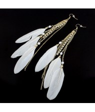 Korean Fashion Feather Tassels Earrings - White