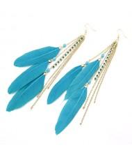 Romantic Blue Feather Tassels Fashion Earrings