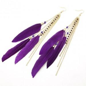 Charming Purple Feather Tassels Earrings