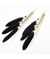 Korean Fashion Feather Tassels Earrings - Black