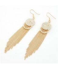 Shining Rhinestones Embedded Simple Tassels Earrings - Golden