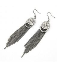 Shining Rhinestones Embedded Simple Tassels Earrings - Black