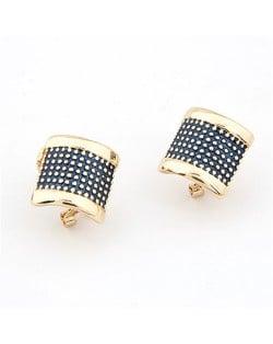 Korean Fashion Sweet Curve Plate Design Earrings - Black