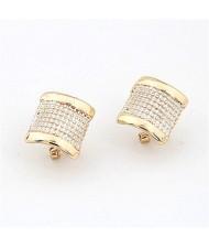 Korean Fashion Sweet Curve Plate Design Earrings - Silver